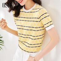 【3折折后价:119元】OSA欧莎条纹针织衫薄款女士短袖夏季2021年新款春秋修身显瘦黄色上衣