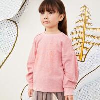 【秒杀价:153元】马拉丁童装女童卫衣春装2020年新款可爱粉色廓形套头短款卫衣