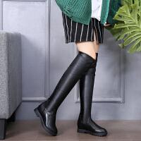 秋冬季新款皮靴过膝长靴高筒靴平底长筒靴平跟加绒靴34小码女 黑色光板 122