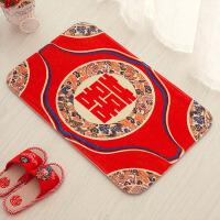 结婚庆用品婚房装饰红色喜字垫子加厚地垫门垫卧室脚垫地毯防滑垫