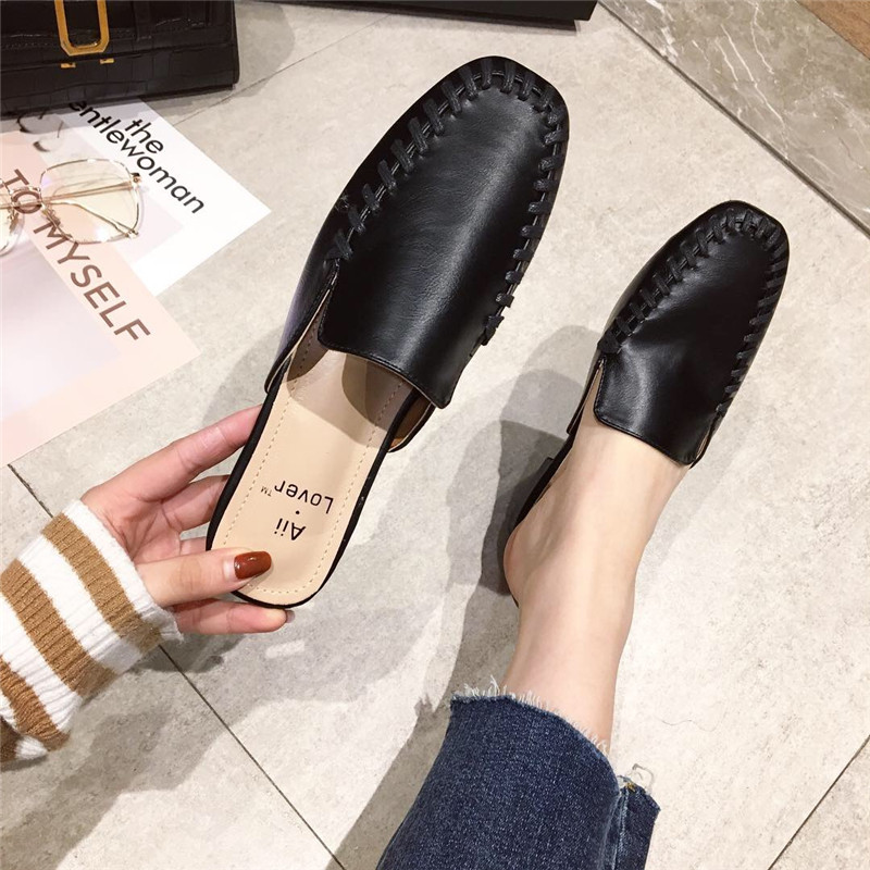 拖鞋女2019春季新款时尚包头半拖鞋黑色方头简约气质外穿拖鞋女鞋