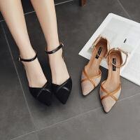 高跟鞋女春夏季高跟鞋女一字扣细带凉鞋休闲中跟单鞋女鞋Z 2089-2 Z 2089-2黑色
