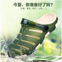男士洞洞鞋夏季凉鞋防水沙滩鞋男生舒适包头拖鞋子男士防雨拖鞋子