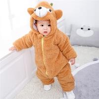 0-1岁婴儿连体衣秋冬外出穿加绒夹棉加厚保暖双层长袖爬爬服