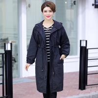 新年特惠中老年女装风衣外套上衣中年妈妈装加肥加大码2019新款秋季装 黑色