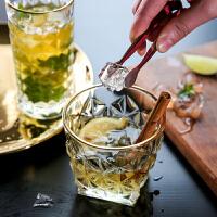 日式金边玻璃杯水杯威士忌酒杯果汁杯水晶家用饮料杯子