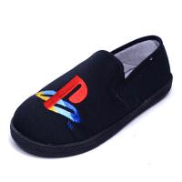 出口英单春秋儿童男拖鞋包跟防滑软底卧室内居家地板鞋帆布鞋 黑色 NEXT帆布鞋