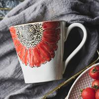 手绘陶瓷杯子马克杯带勺子芝麻油工艺太阳花水杯家用大容量咖啡杯