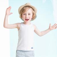 迪士尼男童夏季背心夏款童装儿童白色工字背心宝宝夏款无袖T恤棉