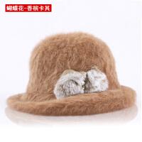 百搭新款可爱贵妇小圆帽卷边毛呢礼帽时尚圆顶盆帽