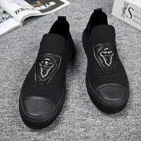 春季一脚蹬子青少年学生韩版潮流百搭板鞋黑色飞织透气网布鞋 黑色