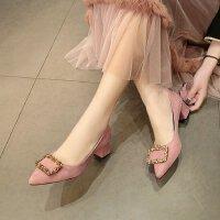 女鞋高跟鞋女2018新款夏季粗跟小清新粉色低跟3cm单鞋绒面工作ol