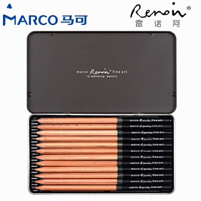 MARCO/马可 3001-12TN 12支雷诺阿素描铅笔/2H-8B 12种全灰度素描笔原木杆初学者专业美术用品画材套装速写笔儿童绘画文具用品/当当自营