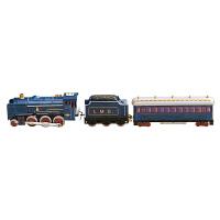长3节火车铁皮发条玩具经典蒸汽火车摄影道具80后童年的玩具c