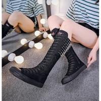 白色帆布鞋朋克铆钉鞋百搭舞蹈跳舞系带侧拉链超高帮鞋长筒靴女鞋