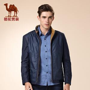 骆驼男装 冬季新款无弹立领棉质休闲夹克衫 商务休闲外套 男