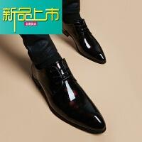 新品上市皮鞋男真皮韩版休闲潮流型师鞋子青年英伦尖头系带内增高男皮鞋