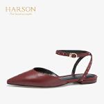 【 限时4折】哈森 2019春新款通勤羊皮低帮一字带尖头中后空平底单鞋女HM97109