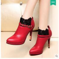 女鞋新款超高跟单鞋女细跟防水台深口蕾丝高跟鞋欧美皮鞋 5005