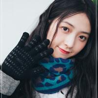 三角巾围巾女秋冬季韩版百搭加厚豹纹斑点围巾女时尚围脖