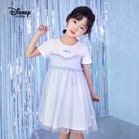 【2件3折价:89.4】迪士尼童装女童清新格子裙夏宝宝连衣裙儿童短袖裙子洋气2020新款