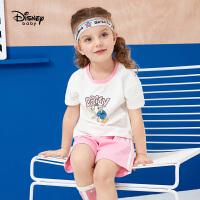 【2件3折价:68.1】迪士尼童装儿童女童运动短袖短裤棉质套装2020新款宝宝洋气两件套