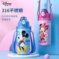 迪士尼儿童保温杯带吸管大容量316不锈钢防摔便携水壶小学生水杯646797