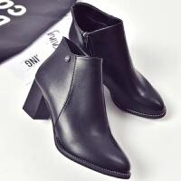 2018秋冬新款短筒马丁靴潮女短靴高跟粗跟尖头百搭性感踝靴及裸靴