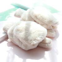 翻盖半指手套女冬天可爱韩版学生情侣露指写字半截甜美手套加绒
