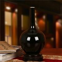 景德镇陶瓷器 颜色黑乌金釉花瓶 简约现代家居工艺品装饰摆件摆设