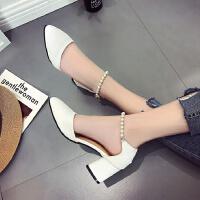 白色高跟鞋女2017新款春粗跟包头夏季中跟3-5cm串珠学生单鞋尖头