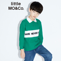 littlemoco秋季新品儿童T恤男童女童Polo领撞色拼接标语全棉T恤