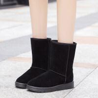 雪地靴女冬季短筒加绒加厚保暖女棉鞋2018韩版百搭学生平底短靴