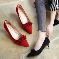 尖头高跟鞋小根细跟5厘米低跟单鞋绒面红色婚鞋优雅工作鞋百搭3cm