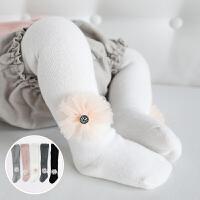 女童打底裤春秋裤袜白色舞蹈袜可爱花朵女宝宝婴儿连裤袜