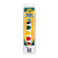 保税区发货 Crayola/绘儿乐 8色幼儿童绘画固体水彩颜料可水洗带画刷 3岁以上 包邮包税
