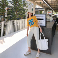 卡贝琳女2019新款韩版卡通印花短袖t恤夏季黄色上衣小清新ins潮休闲体恤衫