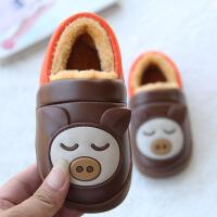 儿童棉拖鞋冬季1-3岁5男女童冬季PU皮防水中小童宝宝保暖包跟