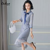 polo连衣裙收腰长裙早秋蕾丝egg法式过膝中长款气质显瘦流行裙子