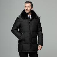 中老年男装中年人爸爸冬装羽绒服休闲老爸毛领中长款加厚加厚外套