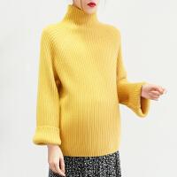冬季半高领针织打底衫 孕妇毛衣女秋冬装中长款宽松潮妈韩版时尚款