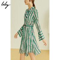Lily夏女装绿色不规则条纹印花长袖连衣裙119210C72