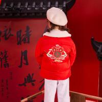 【今日4折�A估�r:145.6元】迪士尼女童古�L棉服�和�外套拜年服