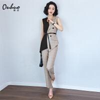 西装套装女夏季韩版时尚职业装气质女神范裤子两件套洋气减龄裤装