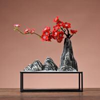 新中式假山松树盆景电视柜玄关摆件酒柜装饰品客厅摆设创意家居