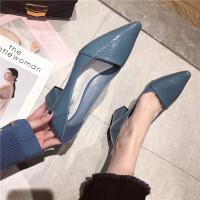 单鞋女鞋2019新款时尚尖头浅口粗跟中跟女鞋简约气质通勤工作女鞋