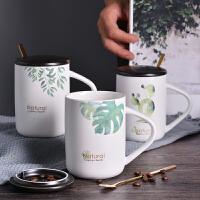马克杯带盖勺陶瓷杯子北欧ins简约创意喝水杯个性家用潮流咖啡杯