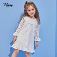 【2件3折价:111】迪士尼童装儿童女时尚蕾丝长袖公主裙子女童连衣裙冰雪奇缘衣服
