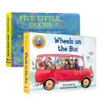 顺丰发货 英文原版进口绘本 经典童谣2册 纸板书 Five Little Ducks 五只小鸭 /wheels on