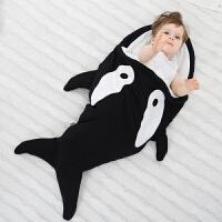 婴儿鲨鱼造型睡袋春秋冬外出拍照抱被厚推车毯宝宝被